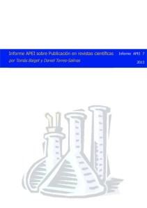 Informe APEI sobre publicaciones científicas