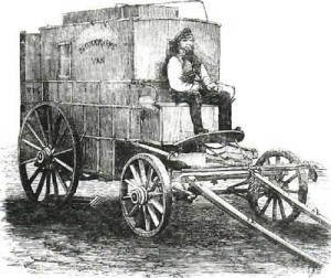 Roger Fenton's Photographic Van with Aide Sparling. Publicada mediante plancha en The Illustrated London News (10-11-1855: 557).